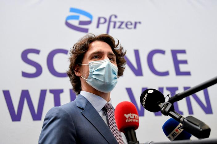Canada's Prime Minister Justin Trudeau visited Europe's largest Pfizer-BioNTech Covid-19 vaccine production site on 15 June (Belga/AFP via Getty Images)