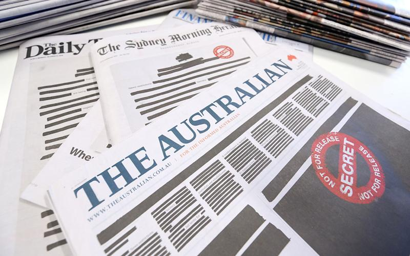A selection of Nine and News Corp newspapers have taken part in an organised plan to protest against a lack of press freedom in Australia.