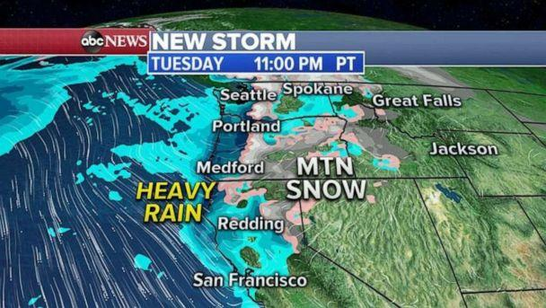 PHOTO: By Tuesday into Tuesday night, even stronger storms will move into the West Coast spreading rain all the way down to northern California with heavy snow from Sierra Nevada to the Cascades. (ABC News)
