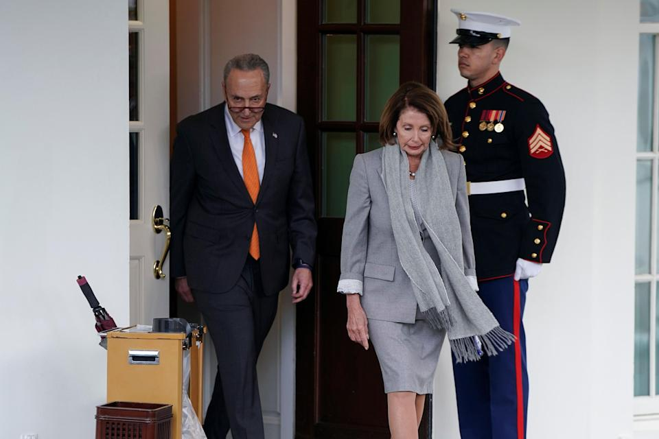 <em>Donald Trump reportedly walked out of the meeting with Speaker of the House Nancy Pelosi and Senate Minority Leader Chuck Schumer (pictured above) when they said they would not fund his controversial wall (Picture: REUTERS/Joshua Roberts)</em>