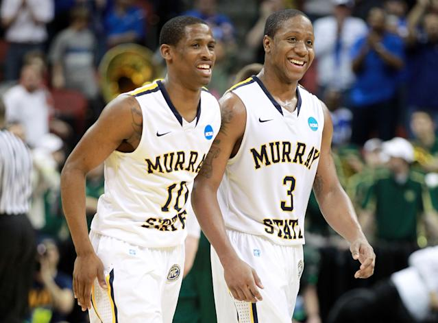 LOUISVILLE, KY - MARCH 15: Zay Jackson #10 and Isaiah Canaan #3 of the Murray State Racers reacts towards teh end of the game against the Colorado State Rams during the second round of the 2012 NCAA Men's Basketball Tournament at KFC YUM! Center on March 15, 2012 in Louisville, Kentucky. (Photo by Andy Lyons/Getty Images)