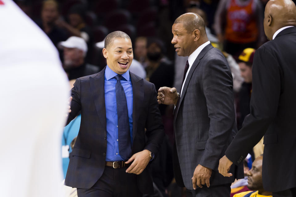 CLEVELAND, OH - DECEMBER 01: Head coach Tyronn Lue of the Cleveland Cavaliers talks to head coach Doc Rivers of the LA Clippers during the second half at Quicken Loans Arena on December 1, 2016 in Cleveland, Ohio. The Clippers defeated the Cavaliers 113-94. NOTE TO USER: User expressly acknowledges and agrees that, by downloading and/or using this photograph, user is consenting to the terms and conditions of the Getty Images License Agreement. Mandatory copyright notice. (Photo by Jason Miller/Getty Images)