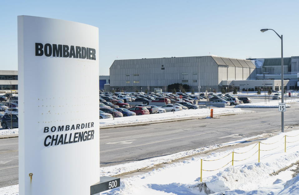 A Bombardier plant is seen in Montreal on Thursday, Feb. 11, 2021. Bombardier Inc. plans to end production of its Learjet business jet later this year and cut 1,600 jobs in Canada and the United States as it cut costs amid the pandemic. Most of the projected job losses for the Montreal-based aircraft manufacturer will occur in Canada, where about 700 are planned in Quebec and 100 in Ontario. (Paul Chiasson/The Canadian Press via AP)