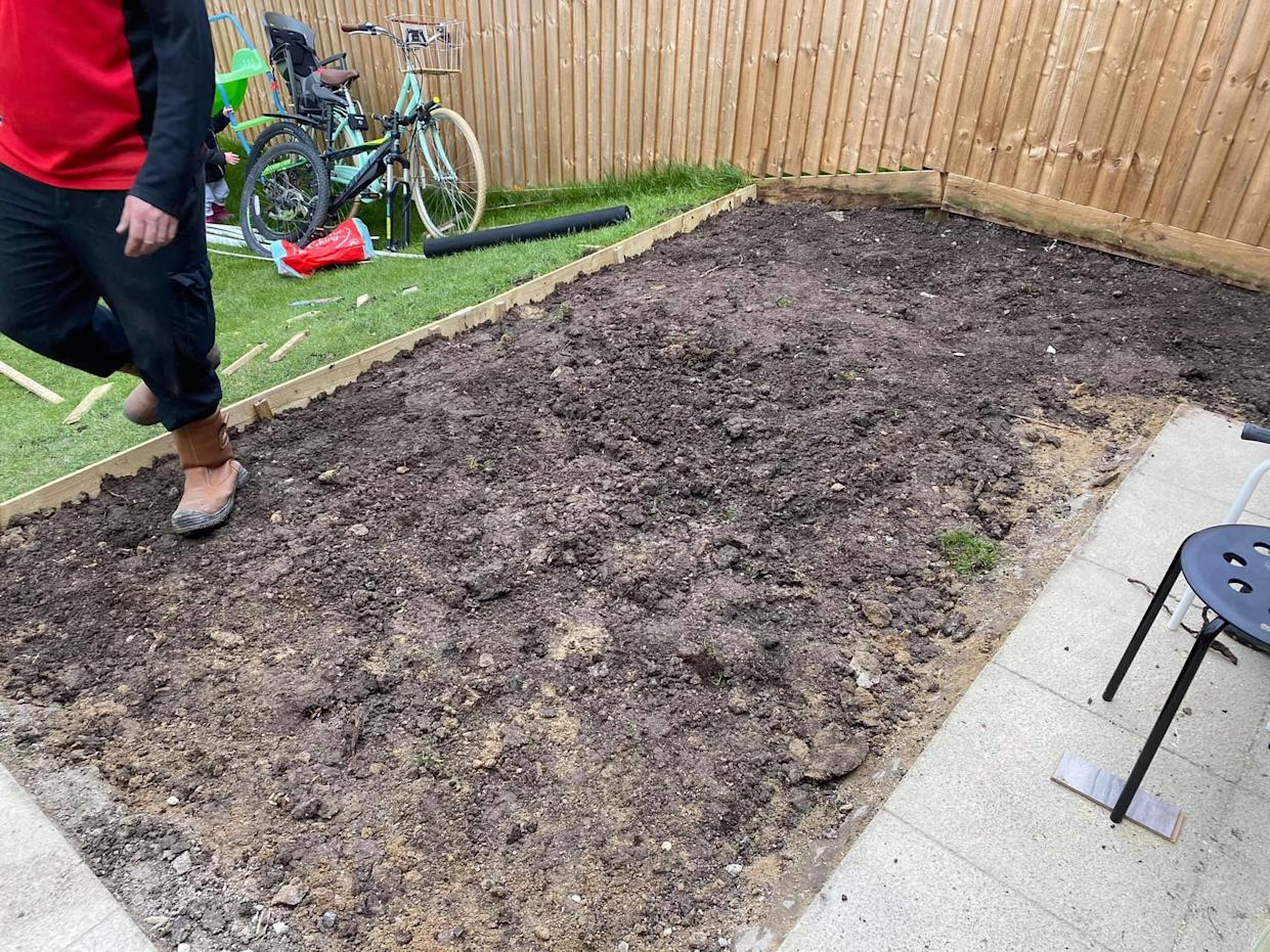 The couple dug up the turf to extend their patio. (Supplied Latestdeals.co.uk)