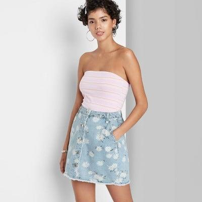 <p>Love the decorated look of this <span>Wild Fable Floral Print Denim Mini Skirt</span> ($17).</p>