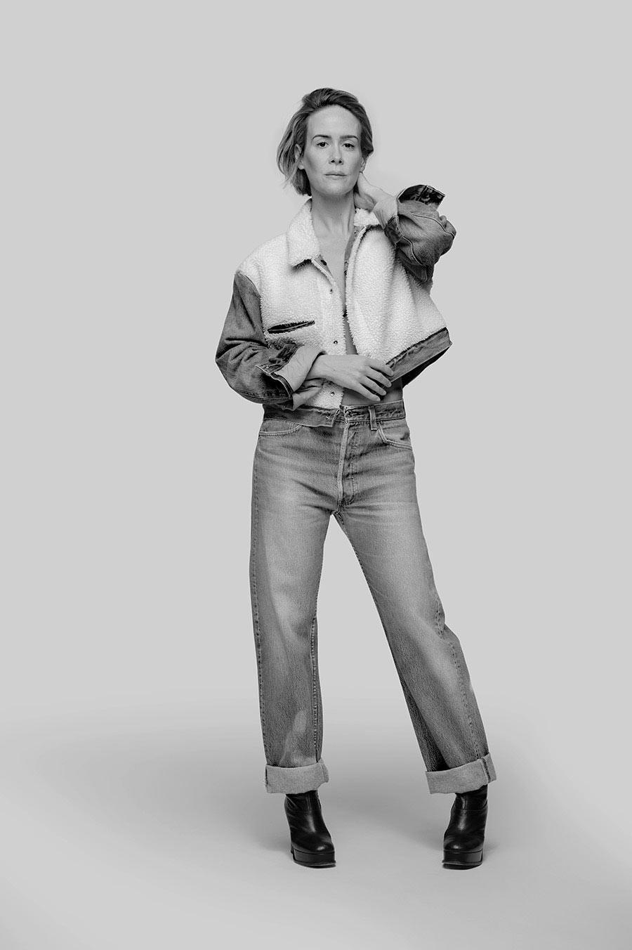 <p>Sarah Paulson wears the Levi's x karla Inside-Out Sherpa. (Photo: Courtesy of Levi's) </p>