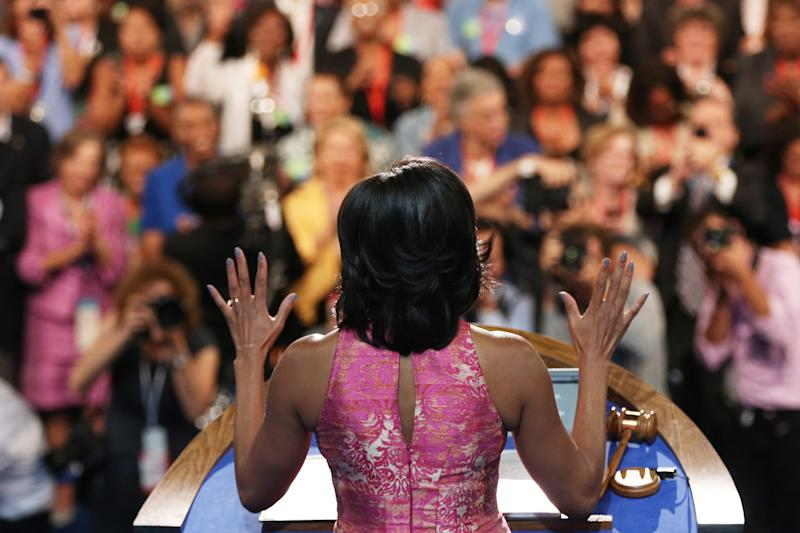 Michelle Obama giving a speech during day one of the Democratic National Convention in 2012. (Getty Images)