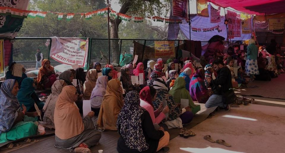 Women protesters at the site of protest.