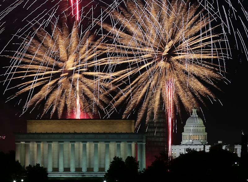 Fireworks, including these seen above the Lincoln Memorial and the US Capitol  in 2013, are an annual Fourth of July tradition in Washington