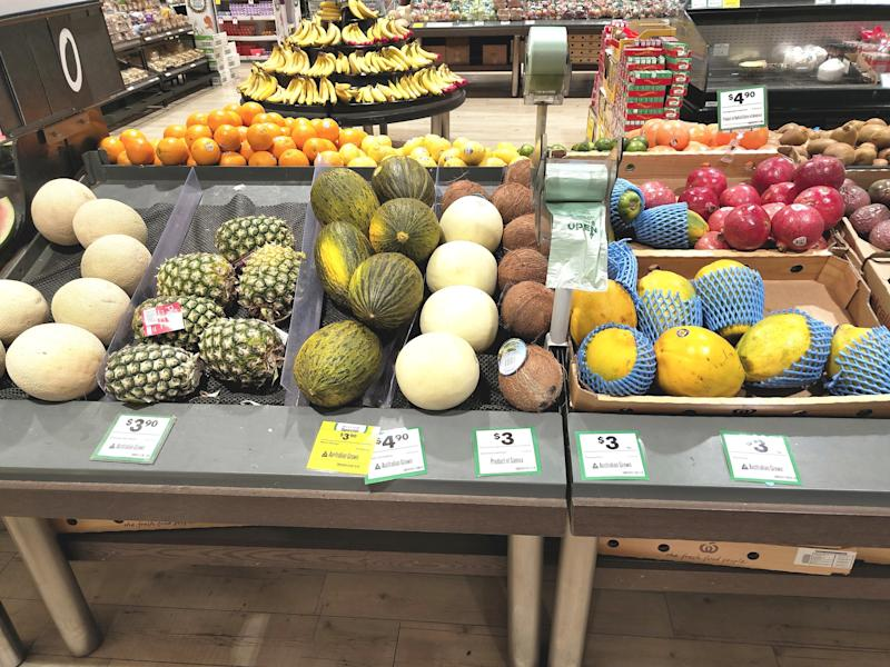 The mum wants people to give the bags a miss, particularly when it comes to bagging the fruits and vegetables with robust skin. Pictured are rockmelons, pineapples and other melons at the supermarket.