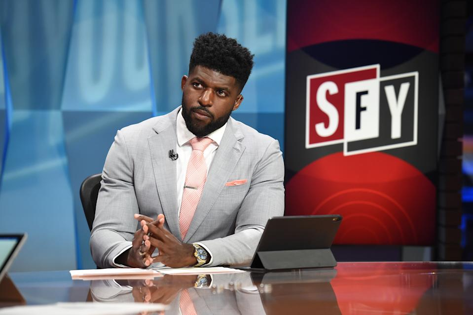 "Emmanuel Acho on the set of ""Speak For Yourself"" on FS1 (Courtesy: Fox)"