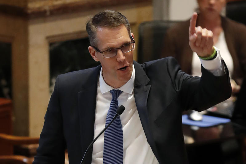 Sen. Randy Feenstra, R-Hull, speaks during debate on the tax bill in the Iowa Senate, Saturday, May 5, 2018, at the Statehouse in Des Moines, Iowa. (Charlie Neibergall/AP Photo)