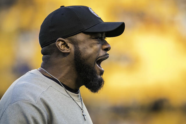 Head coach Mike Tomlin says star wideout Antonio Brown hasn't asked for a trade out of Pittsburgh. (Getty Images)