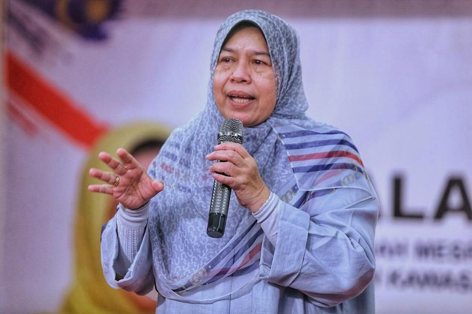 Housing and Local Government Minister Zuraida Kamaruddin speaks during a press conference in Ampang March 27, 2021. — Picture by Ahmad Zamzahuri