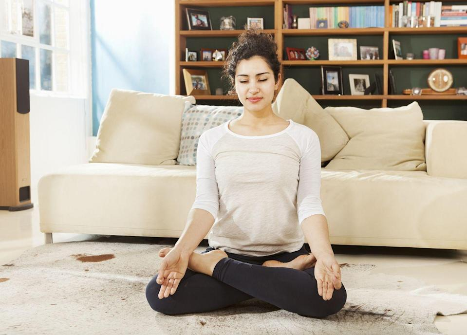 """<p>Here's another benefit of regular meditation: It can actually give you more energy. Research published in <em>Biological Psychiatry</em> found that even <a href=""""https://www.biologicalpsychiatryjournal.com/article/S0006-3223(16)00079-2/abstract"""" rel=""""nofollow noopener"""" target=""""_blank"""" data-ylk=""""slk:short mindfulness exercises"""" class=""""link rapid-noclick-resp"""">short mindfulness exercises</a> can reduce inflammation markers, reducing the stress that might lead to us being so tired in the afternoon. Other <a href=""""https://pubmed.ncbi.nlm.nih.gov/24705269/"""" rel=""""nofollow noopener"""" target=""""_blank"""" data-ylk=""""slk:studies"""" class=""""link rapid-noclick-resp"""">studies</a> have looked at the way meditation affects the brain and have found similar results: that it can relieve stress that could cause exhaustion. Download an app like Headspace and take five minutes to just breathe. </p>"""