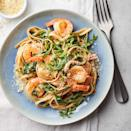 <p>Yogurt makes a fine substitute for cream in the sauce for this easy pasta recipe. Just warm the yogurt (do not boil) and add some pasta-cooking water to thin it out. Lemon and fresh basil brighten up the whole-wheat pasta and complement the shrimp in this quick dinner recipe.</p>