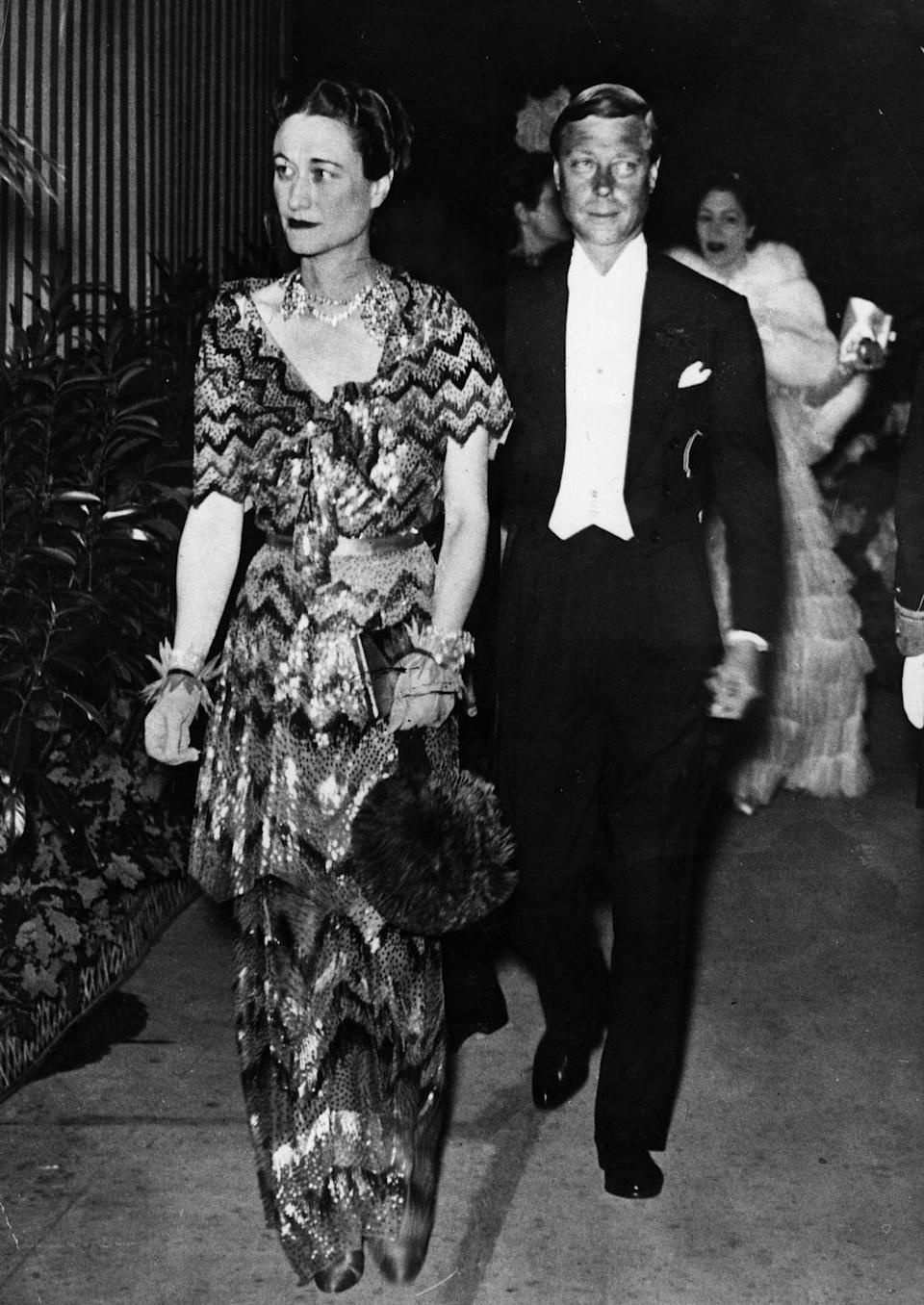 <p>American socialite Wallis married The Duke of Windsor (formerly King Edward VIII of Great Britain) in 1937. Wallis grew up in Baltimore, Maryland, and was married twice before wedding the Duke. But in a true romantic gesture, he gave up the throne and his title of king to be with her. </p>