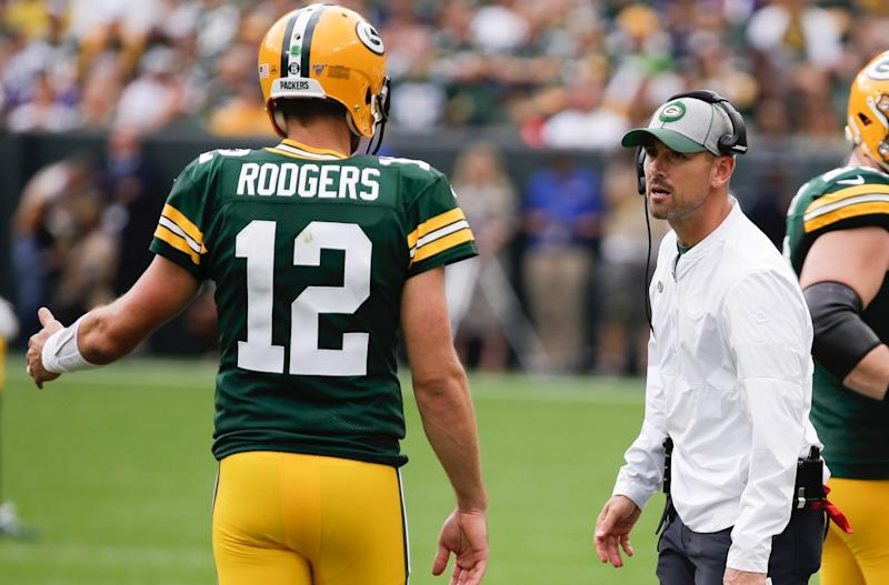 A disagreement like the one Aaron Rodgers and Matt LaFleur had on Sunday is easy to downplay after a 2-0 start. (AP)