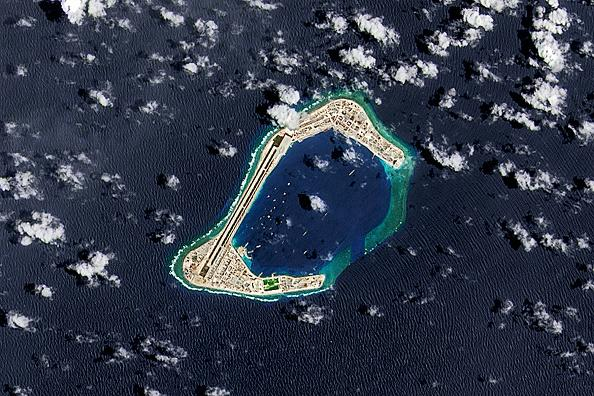 A 2016 satellite image of Subi Reef, an artificial island being developed by China in the Spratly Islands in the South China Sea. Source: Getty