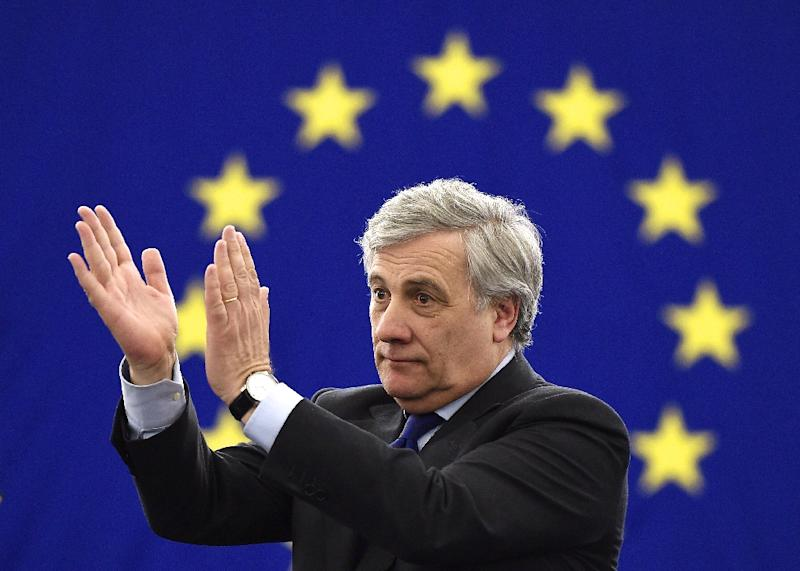 The European Parliament's new President Antonio Tajani reacts following his election in Strasbourg, eastern France, on January 17, 2017 (AFP Photo/FREDERICK FLORIN)