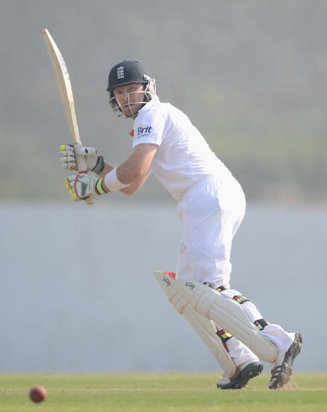 AHMEDABAD, INDIA - NOVEMBER 09:  Ian Bell of England bats during day two of the tour match between England and Haryana at Sardar Patel Stadium ground B on November 9, 2012 in Ahmedabad, India.  (Photo by Gareth Copley/Getty Images)