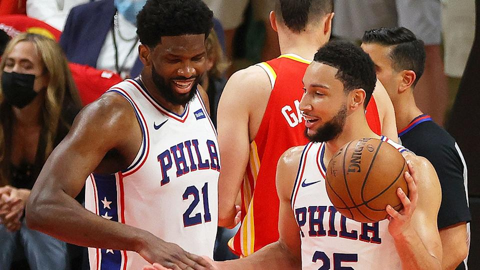 Pictured here, 76ers teammates Joel Embiid and Ben Simmons share a laugh.