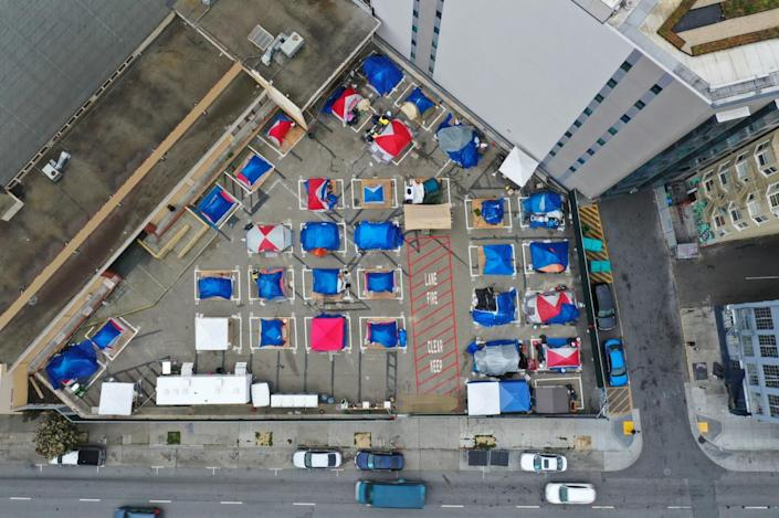 Aerial view of tents in a city lot