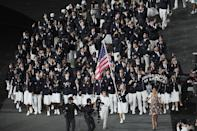 <p>In 2012, Team USA's uniforms were once again designed by Ralph Lauren, and once again included some interesting headgear: The team donned navy berets for the Opening Ceremony. </p>