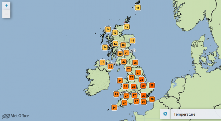 In case you hadn't noticed, it's really hot in the UK at the moment (Met Office)