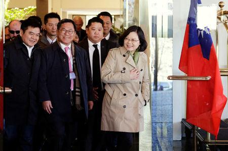 "Taiwan President Tsai Ing-wen exits at the Omni Houston Hotel during a ""transit stop"" enroute to Central America, in Houston, Texas, U.S., January 7, 2017.  REUTERS/James Nielsen"
