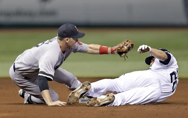 Boston Red Sox shortstop Stephen Drew tags out Tampa Bay Rays' Matt Joyce attempting to steal second base during the fourth inning of a baseball game Tuesday, Sept. 10, 2013, in St. Petersburg, Fla. (AP Photo/Chris O'Meara)