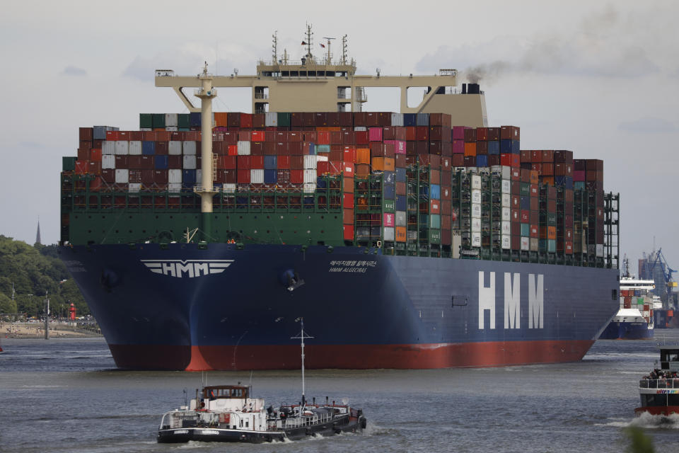 The HMM Algeciras, currently the world's largest container ship, departs from Hamburg Port in Germany. Photo: Morris MacMatzen/Getty Images
