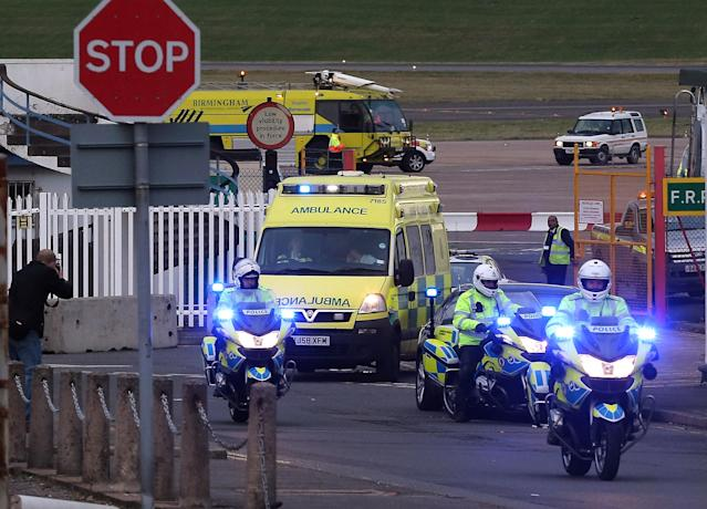 "BIRMINGHAM, ENGLAND - OCTOBER 15: Pakistani fourteen-year-old Malala Yousafza, who was shot in the head by the Taliban for campaigning for the right to education, leaves Birmingham Airport for transfer to the Queen Elizabeth Hospital on October 15, 2012 in Birmingham, England. Malala will be treated at Birmingham's Queen Elizabeth Hospital which specialises major trauma care. The school girl is in a serious condition after the gun attack last week by the Taliban, who said they shot her because she was ""promoting secularism"". (Photo by Christopher Furlong/Getty Images)"