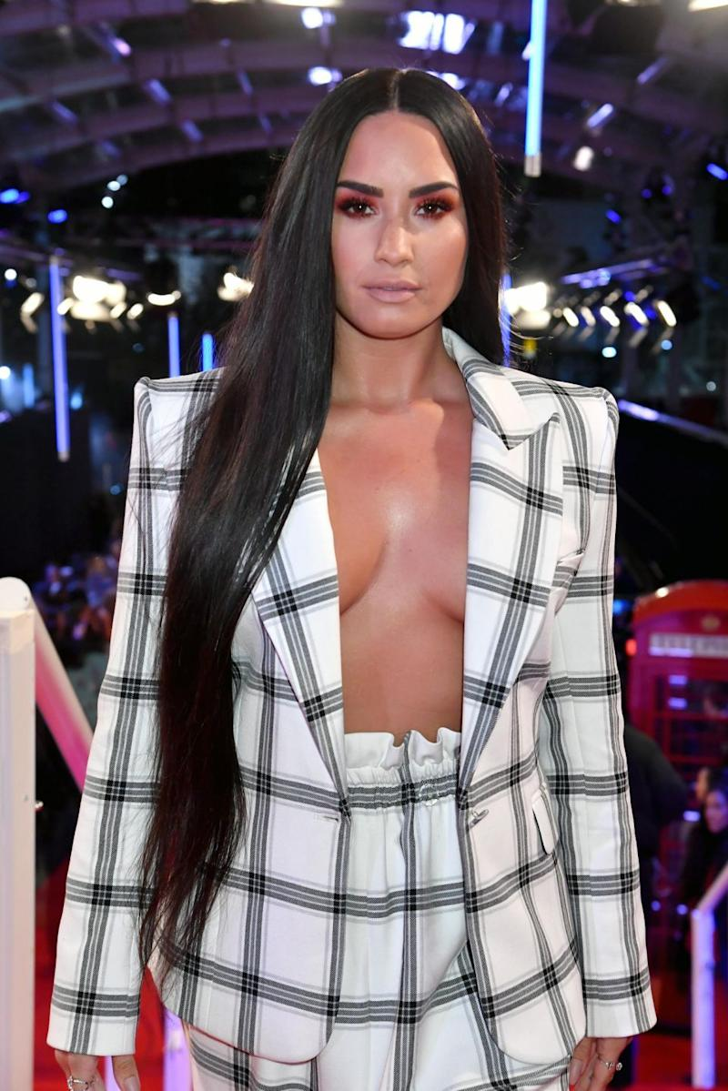 Demi Lovato has stunned as she arrived on the red carpet for the 2017 MTV EMA's. Source: Getty