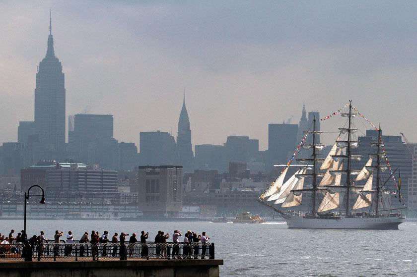 The Brazilian Navy tall ship Cisne Branco makes its way up the Hudson River for the 25th annual Fleet Week celebration i... Eduardo Munoz / Reuters