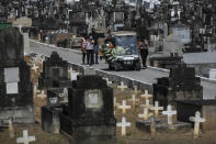 Relatives attend the burial of 71-year-old Jose Abelardo Bezerra, who died from COVID-19 related complications, at the Inhauma cemetery in Rio de Janeiro, Brazil, Thursday, Jan. 7, 2021. (AP Photo/Bruna Prado)