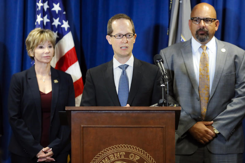 Benjamin Glassman, United States Attorney of the Southern District of Ohio, speaks during a news conference, Thursday, July 18, 2019, in Cincinnati. Federal authorities say Miami-Luken, an Ohio-based wholesale drug distributor that's been linked before to the opioid drug crisis, has been charged in a painkiller pill conspiracy cases. (AP Photo/John Minchillo)
