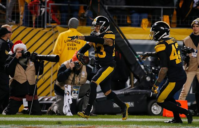 Joe Haden's late interception of Tom Brady helped secure a critical Steelers win. (Getty)