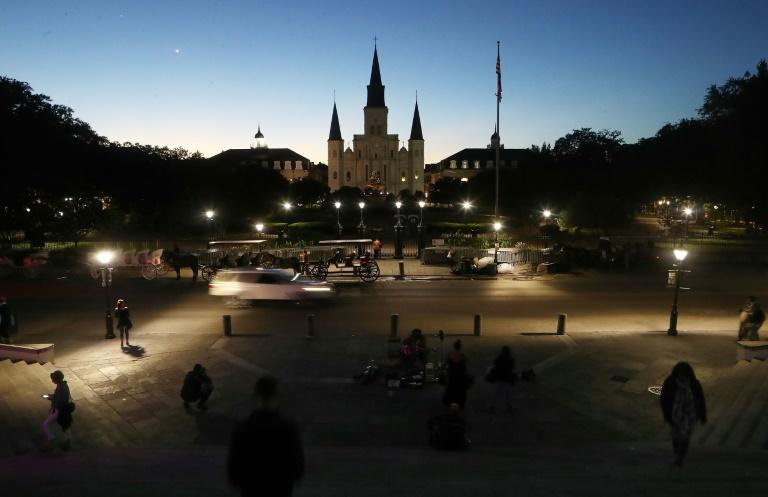 St. Louis Cathedral is illuminated at dusk in New Orleans, which became part of the United States in 1803 as part of the Louisiana Purchase
