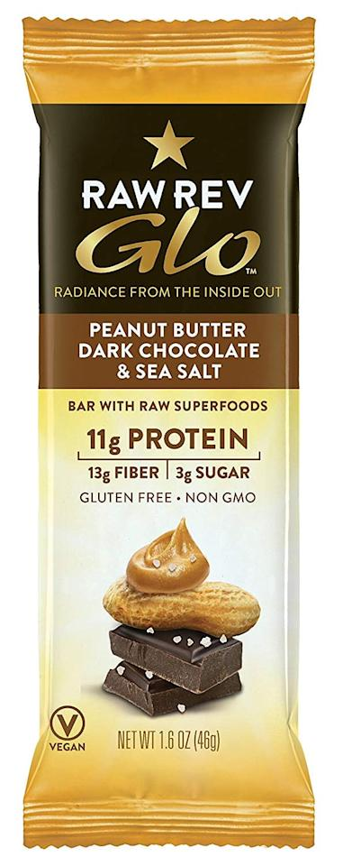 """<p>These <a href=""""https://www.popsugar.com/buy/Raw-Rev-Glo-Vegan-Gluten-Free-Protein-Bars-392734?p_name=Raw%20Rev%20Glo%20Vegan%20Gluten-Free%20Protein%20Bars&retailer=amazon.com&pid=392734&price=28&evar1=fit%3Aus&evar9=46433827&evar98=https%3A%2F%2Fwww.popsugar.com%2Ffitness%2Fphoto-gallery%2F46433827%2Fimage%2F46433847%2FRaw-Rev-Glo-Vegan-Gluten-Free-Protein-Bars&list1=shopping%2Camazon%2Csnacks%2Chealthy%20foods%2Cfood%20shopping%2Clow-carb&prop13=mobile&pdata=1"""" rel=""""nofollow"""" data-shoppable-link=""""1"""" target=""""_blank"""" class=""""ga-track"""" data-ga-category=""""Related"""" data-ga-label=""""https://www.amazon.com/Raw-Rev-Glo-Keto-Friendly-Plant-Based/dp/B00YIU7C7W/ref=sr_1_20_a_it?ie=UTF8&amp;qid=1543518950&amp;sr=8-20&amp;keywords=plant%2Bbased%2Bsnacks&amp;th=1"""" data-ga-action=""""In-Line Links"""">Raw Rev Glo Vegan Gluten-Free Protein Bars</a> ($28 for 12) taste like candy but pack a whopping 11 grams of protein, 13 grams of fiber, and six grams of net carbs.</p>"""
