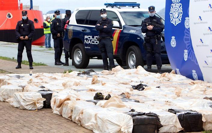 Security forces seized 4 tons of cocaine and arrested 28 people, during a raid to disband a 'narco-carrier' network in Vigo, northwestern Spain, in April - SALVADOR SAS/EPA-EFE/Shutterstock