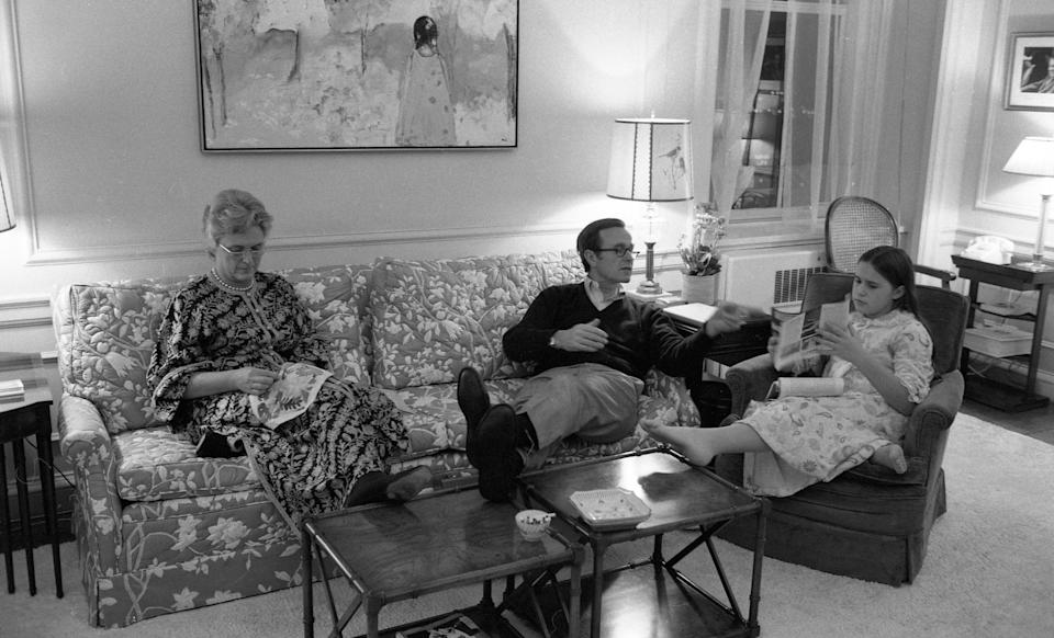 George H.W. Bush, then the U.S.ambassador to the United Nations, sits with his wife and their daughter, Dorothy Walker Bush, in the family living room in Washington, D.C., in October 1971.
