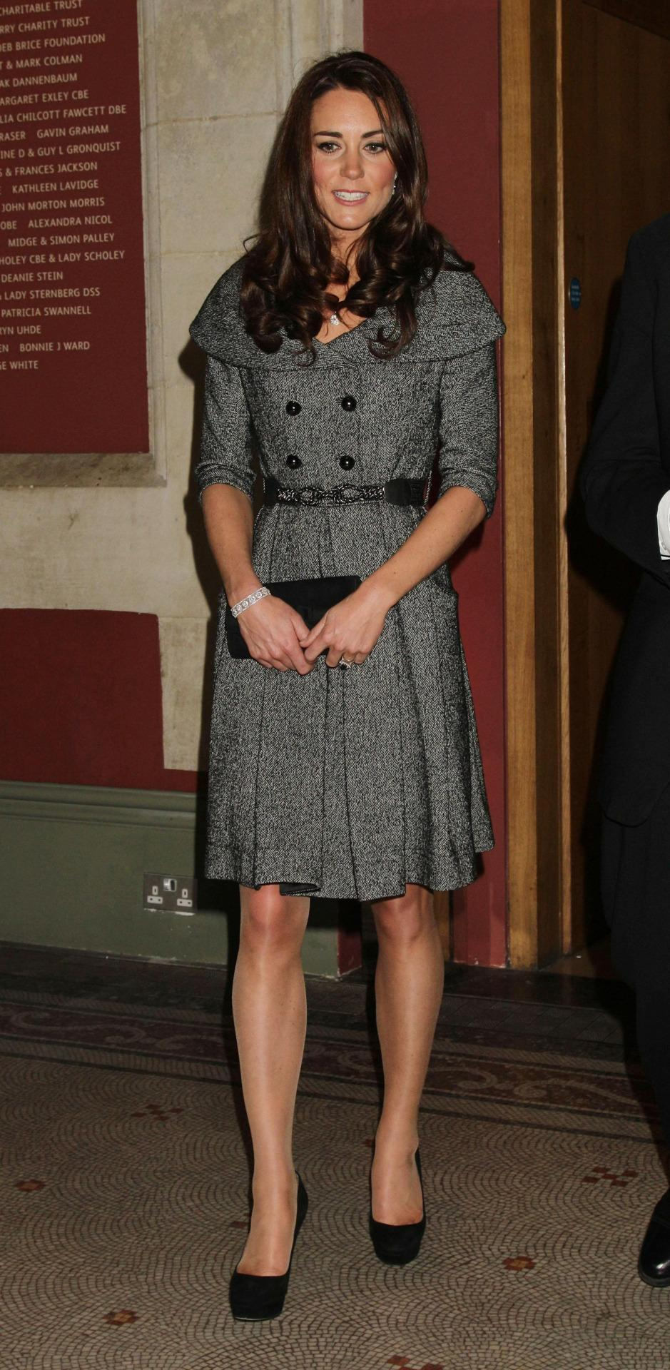 <p>Kate visited an art exhibition in a coat dress by (now defunct) brand, Jesire. She teamed the look with sky high Jimmy Choo pumps.</p><p><i>[Photo: PA]</i></p>