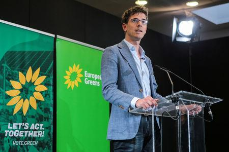 Member of the European Greens party Bas Eickhoutcampaignsfor the European Elections in Budapest, Hungary May 3, 2019. Gabor Banko/LMP/Handout via REUTERS