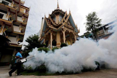 A city worker fumigates the area to control the spread of mosquitoes at a temple in Bangkok, Thailand, September 14, 2016. REUTERS/Chaiwat Subprasom/File Photo