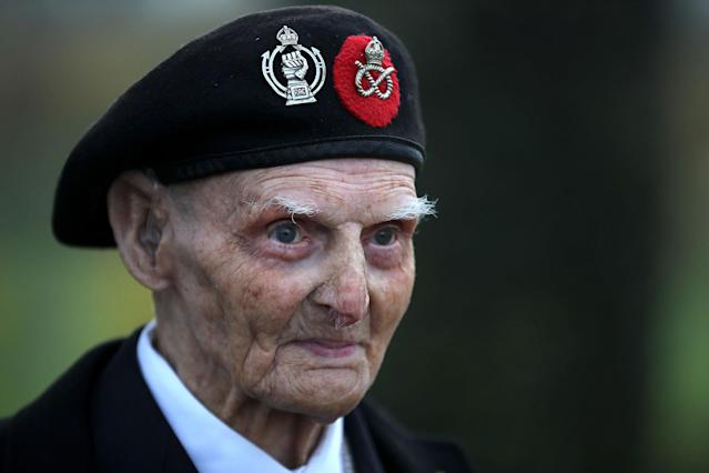 <p>99-year-old World War II veteran Les Cherrington attends the annual Armistice Day Service at The National Memorial Arboretum on Nov. 11, 2017 in Alrewas, England. (Photo: Christopher Furlong/Getty Images) </p>