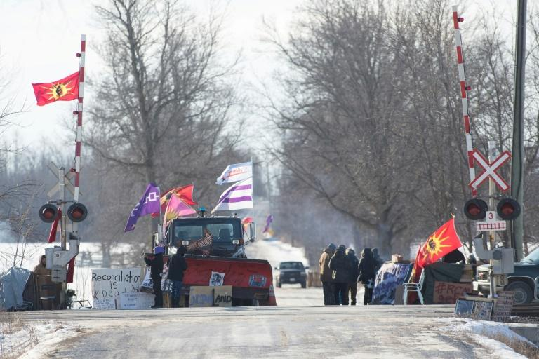 Police moved in to clear this indigenous protest blocking a key rail corridor near Belleville, Ontario, Canada
