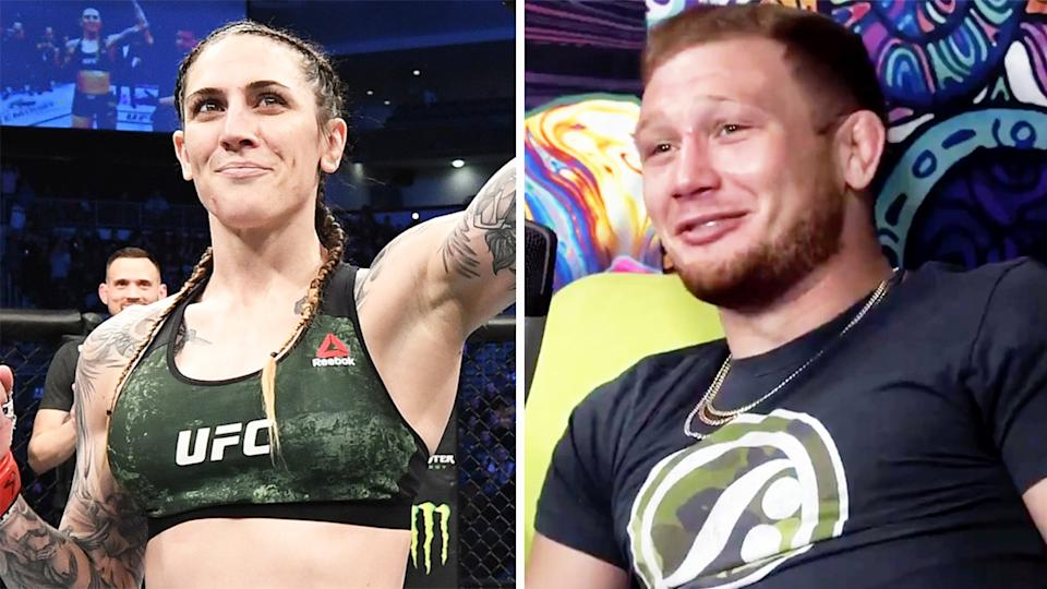 Casey Kenney (pictured right) during a podcast and Aussie UFC star Megan Anderson (pictured) celebrating after a fight.