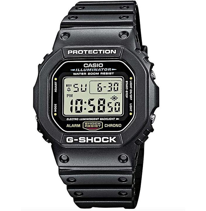"""<p><strong>Casio</strong></p><p>amazon.com</p><p><strong>$47.89</strong></p><p><a href=""""https://www.amazon.com/dp/B000GAYQKY?tag=syn-yahoo-20&ascsubtag=%5Bartid%7C10054.g.35351418%5Bsrc%7Cyahoo-us"""" rel=""""nofollow noopener"""" target=""""_blank"""" data-ylk=""""slk:Shop Now"""" class=""""link rapid-noclick-resp"""">Shop Now</a></p><p>The most reliable shock-resistant watch on the market for a reason. </p>"""
