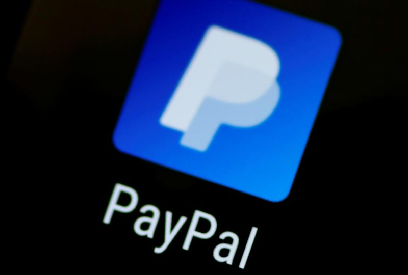 The PayPal app logo seen on a mobile phone in this illustration photo October 16, 2017. REUTERS/Thomas White/Illustration